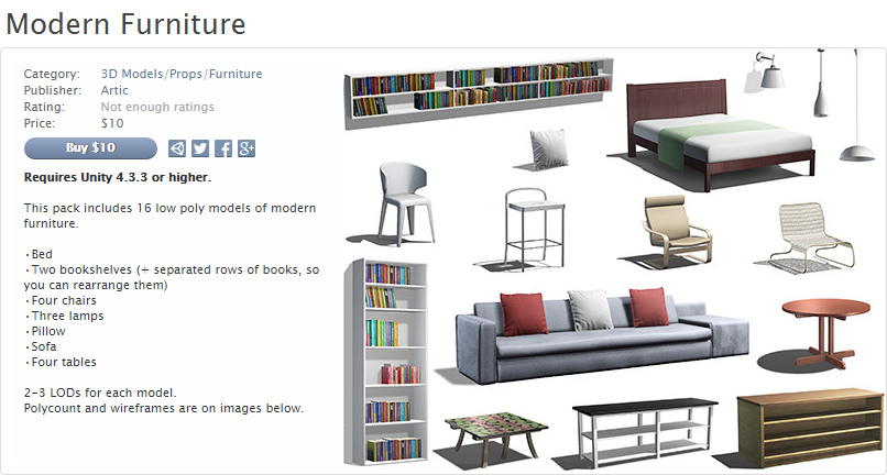 Modern Furniture, Asset Store