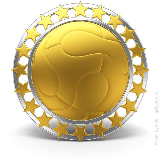 Футбольные награды: золотая и серебряная медаль с мячом