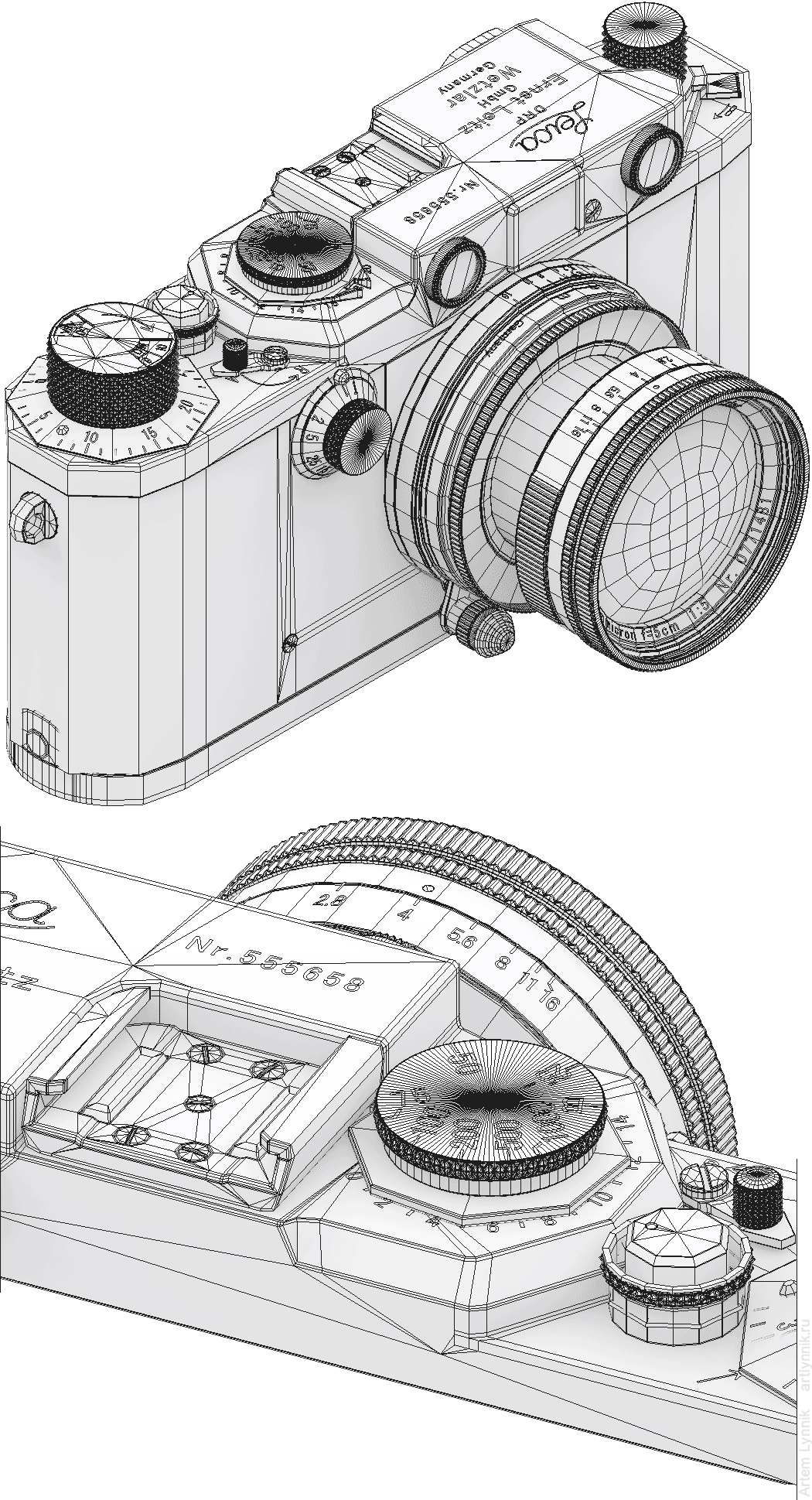 Фотоаппарат photo camera Leica IIIf wireframe 3ds max viewport