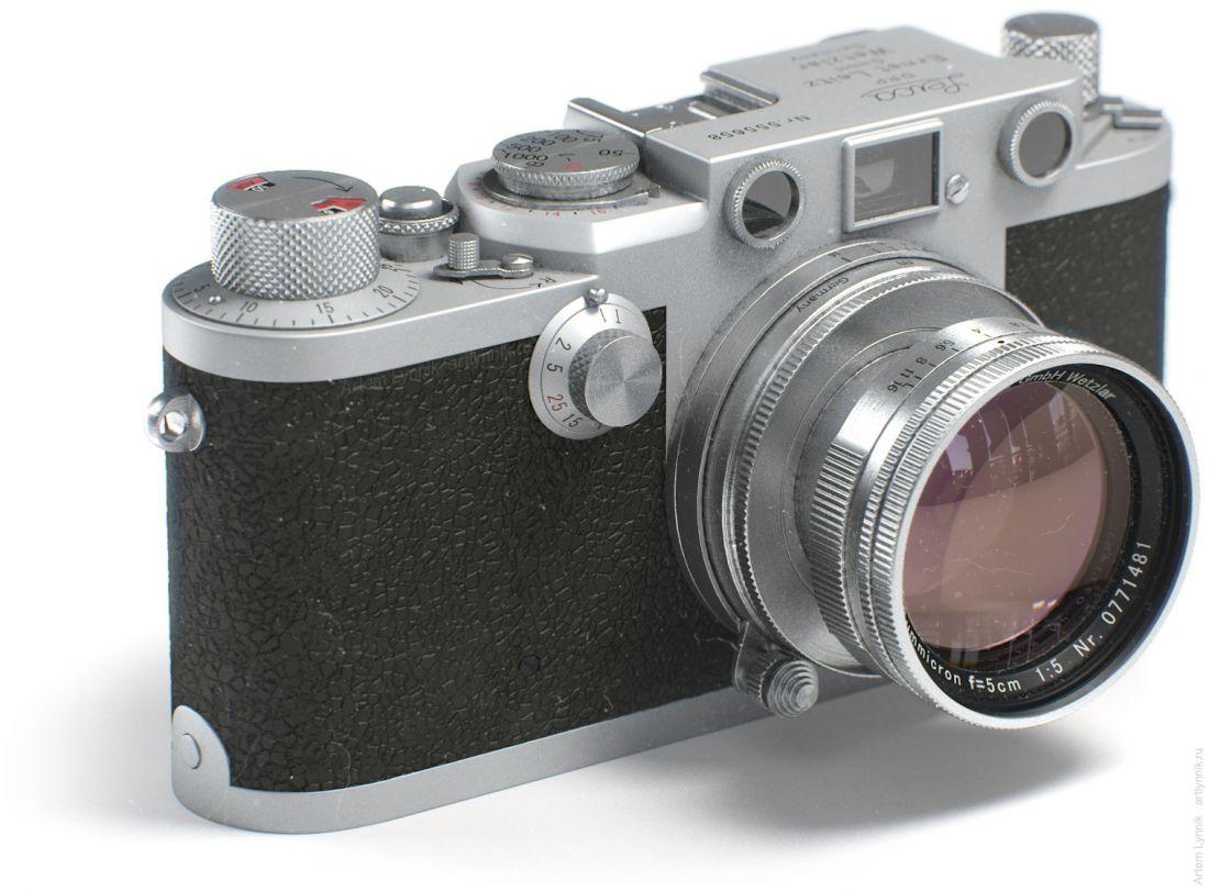 Фотоаппарат Leica IIIf render 3ds max vray