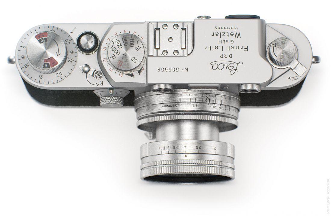 Фотоаппарат Leica IIIf вид сверху top-view render 3ds max vray