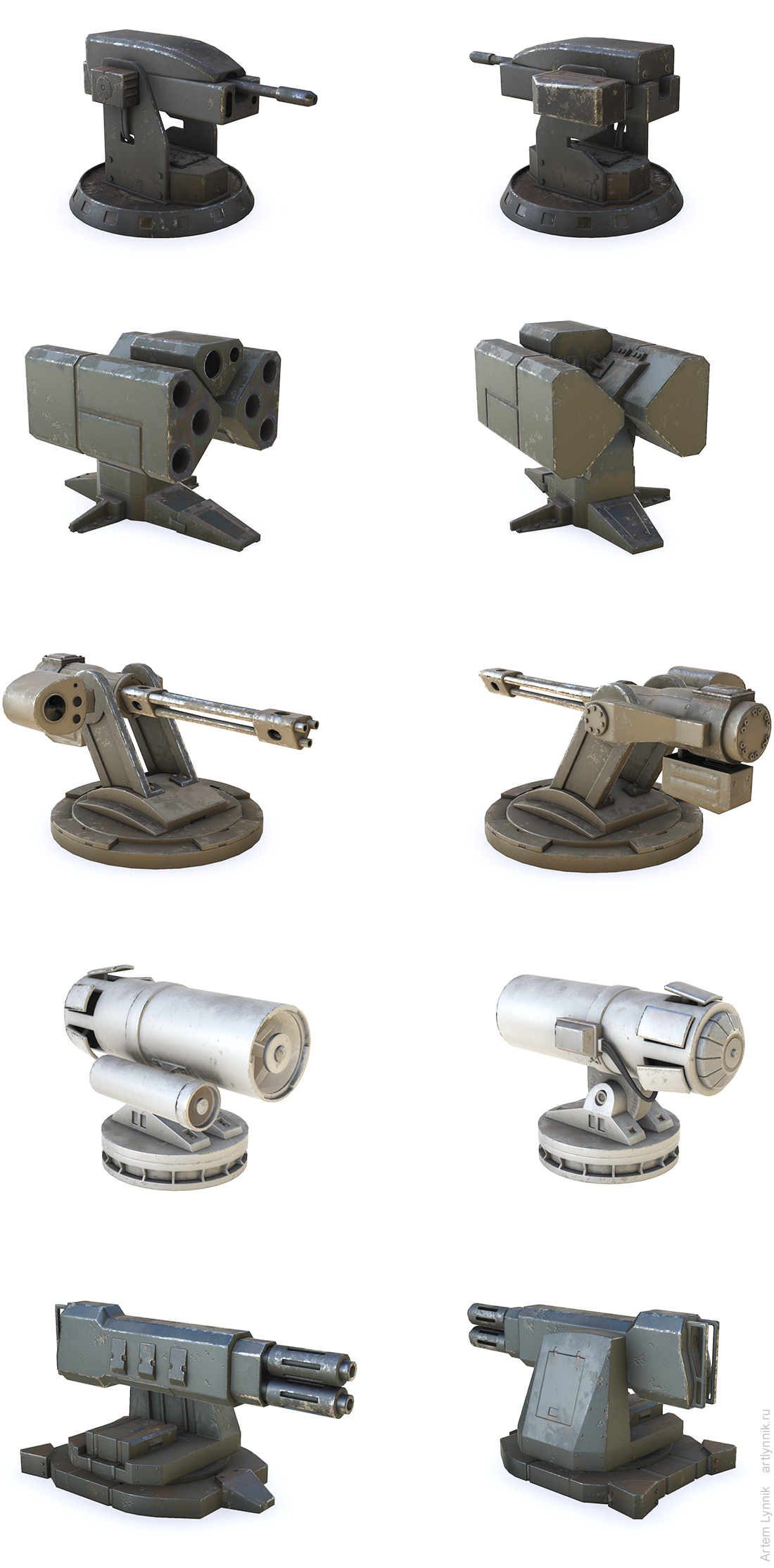 Realistic Turret Pack, 3d, unity, asset store, game model